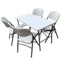 Mesa DE Patas  Plegables de 122 x 60 x 75 cm de alto  Con 4 sillas plegables Reforzadas